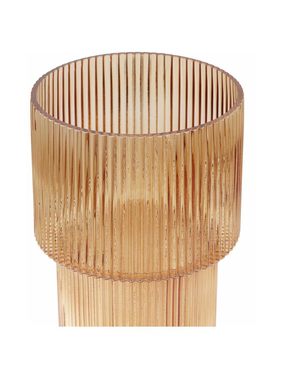 Vaso in vetro Lija, Vetro, Color ambra trasparente, Ø 14 x Alt. 30 cm