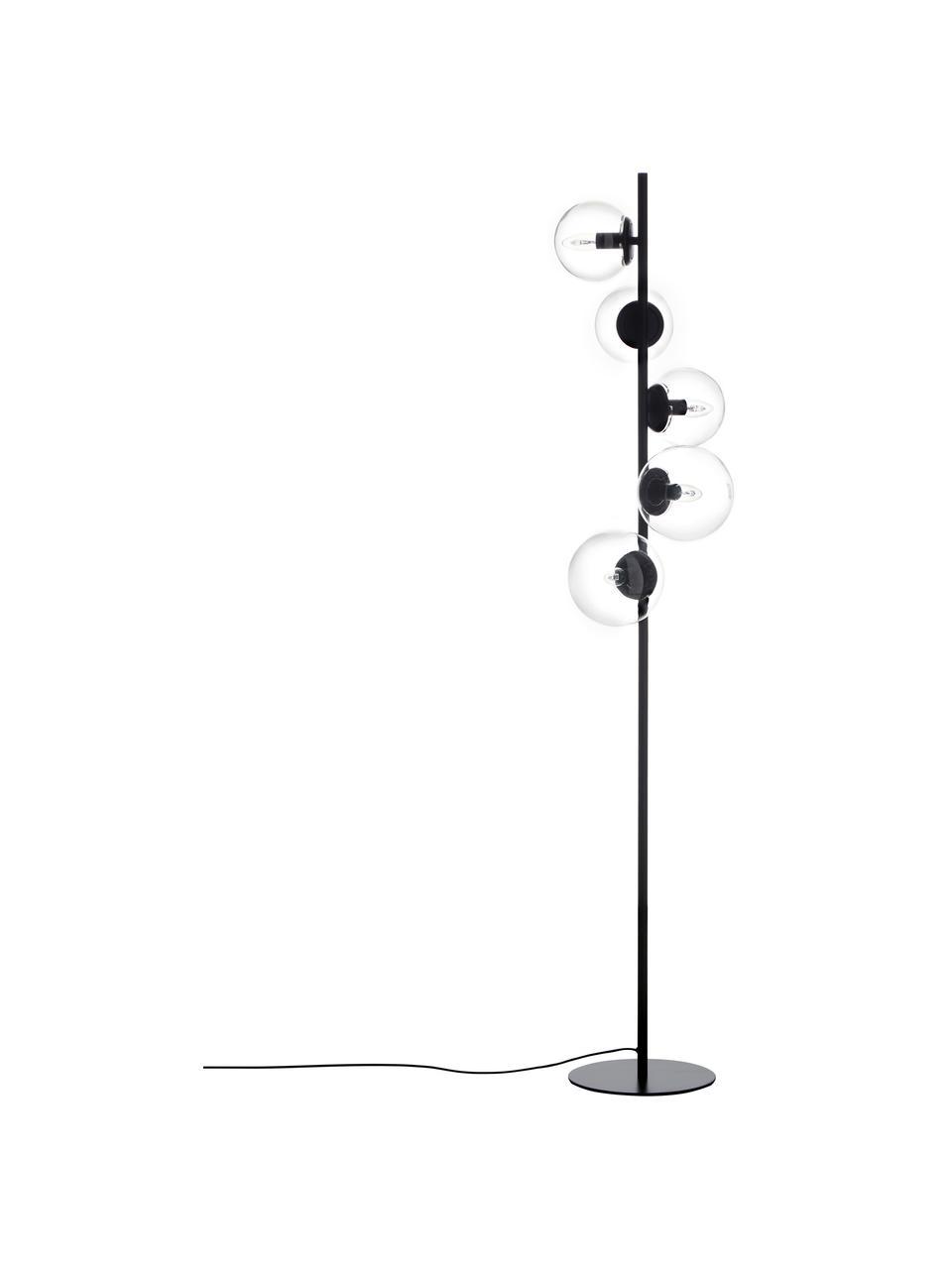 Lampa podłogowa ze szkła w stylu industrial Casey, Czarny, Ø 40 x W 170 cm