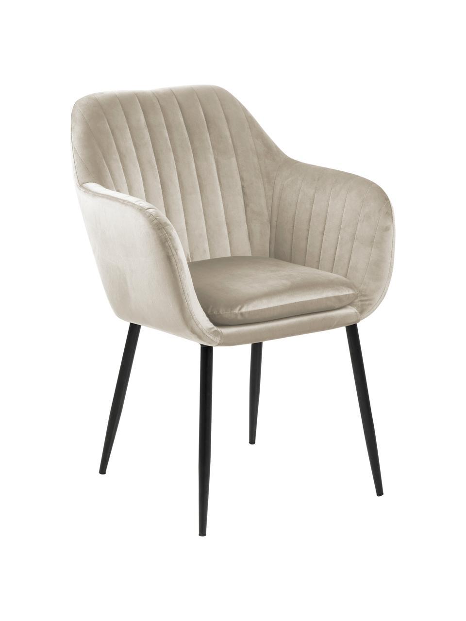 Chaise velours rembourrée pieds en métal Emilia, Velours beige, pieds noir