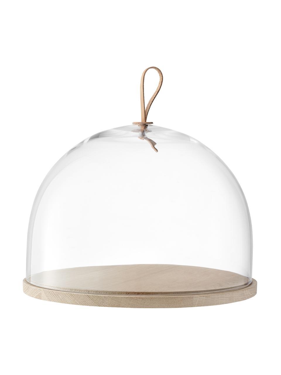 Mondgeblazen stolp Ivalo van glas en hout, Ø 32 cm, Stolp: glas, Transparant, bruin, Ø 32 x H 23 cm