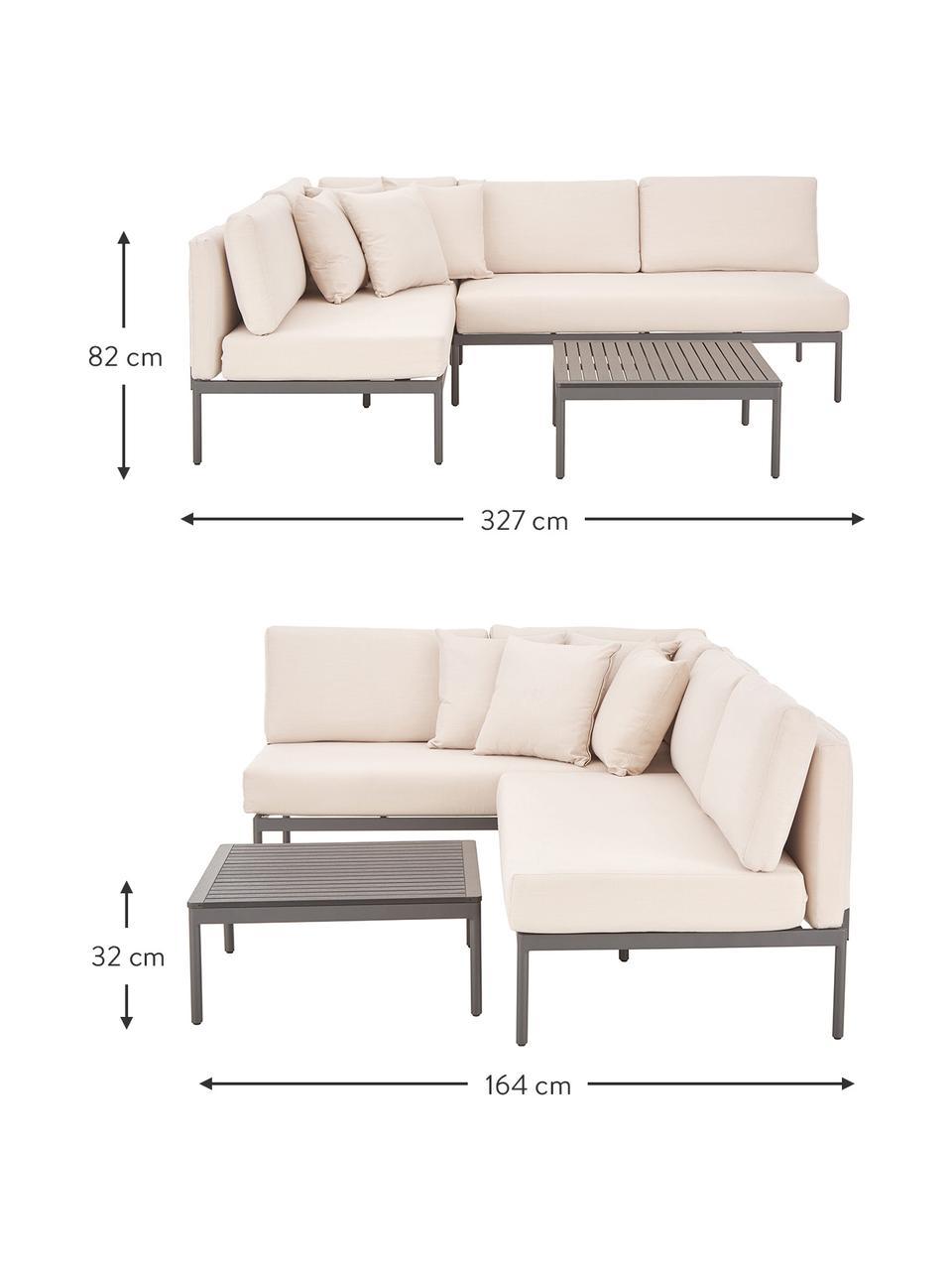 Garten-Lounge-Set Linden, 2-tlg. in Beige, Bezug: 100% Polyester Der hochwe, Gestell: Metall, pulverbeschichtet, Tischplatte: Holz-Kunststoff-Verbundwe, Gestell: Metall, pulverbeschichtet, Grau,Beige, Set mit verschiedenen Größen