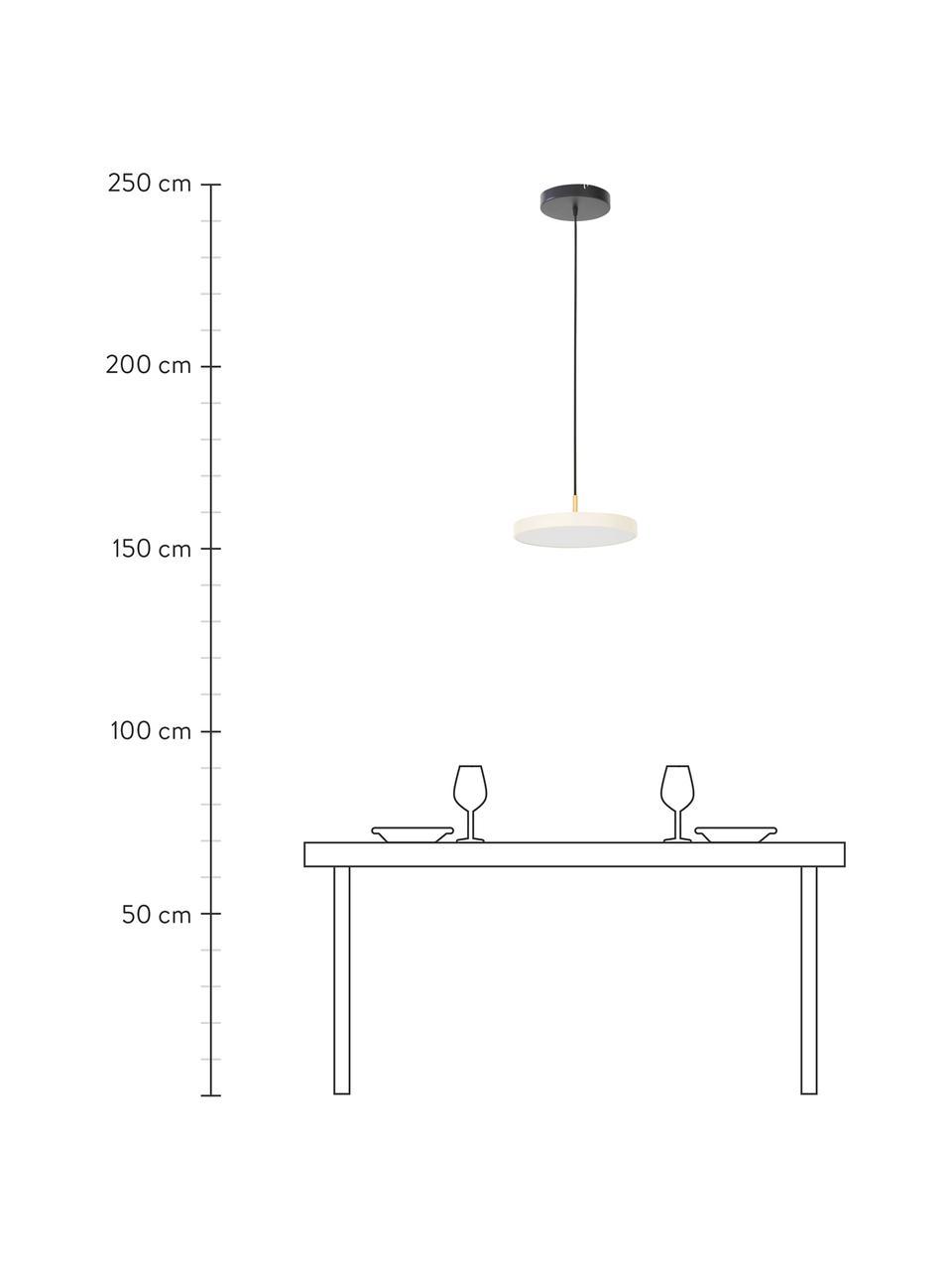 Design LED-Pendelleuchte Asteria, Lampenschirm: Aluminium, lackiert, Dekor: Stahl, lackiert, Perlweiß, Goldfarben, Ø 31 x H 14 cm
