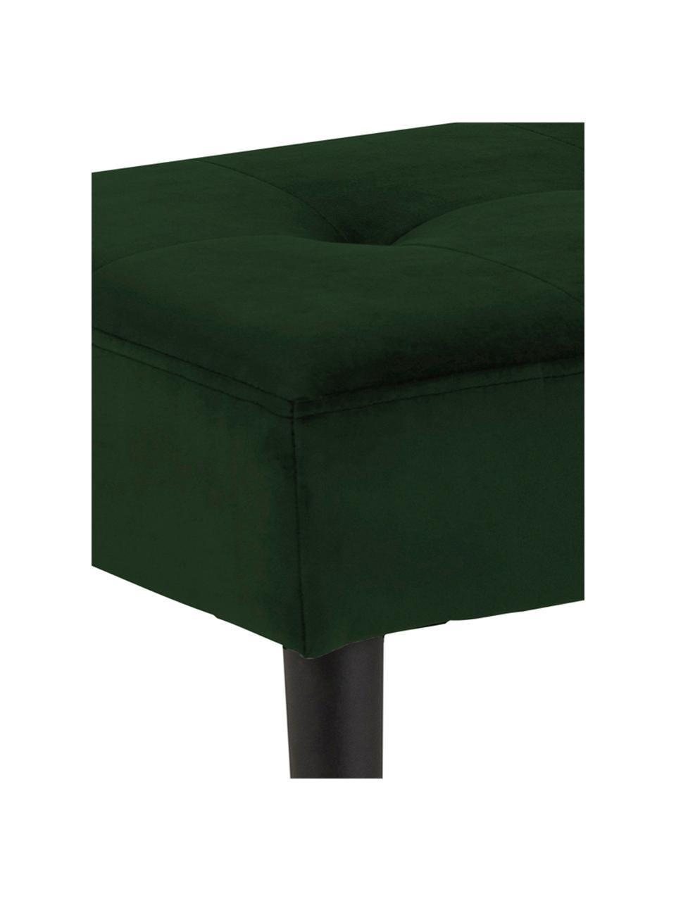 Panca in velluto Glory, Rivestimento: velluto di poliestere 25., Struttura: metallo verniciato a polv, Verde scuro, Larg. 95 x Alt. 45 cm