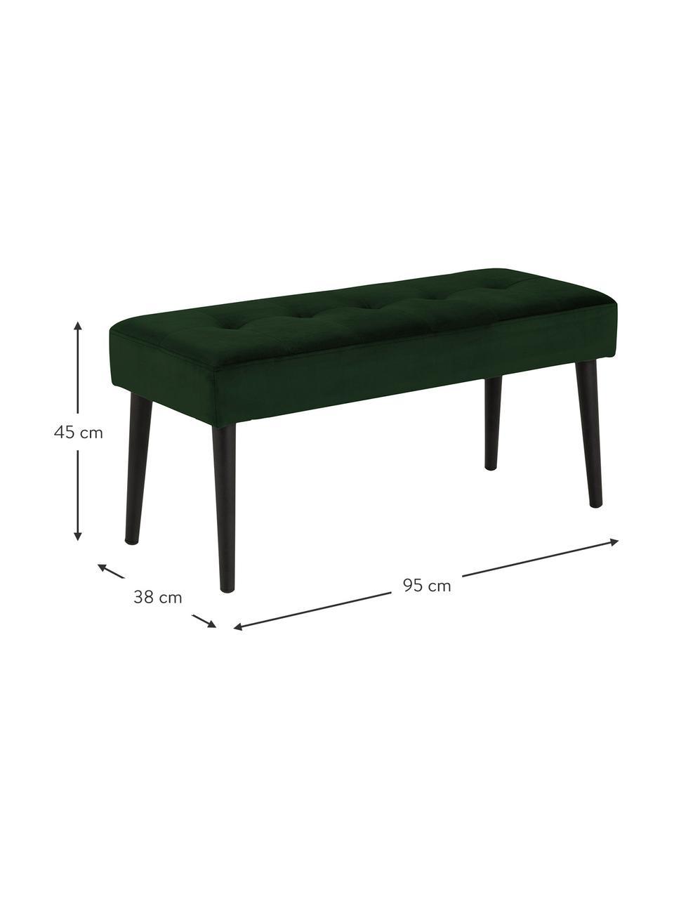 Panca in velluto verde scuro  Glory, Rivestimento: velluto di poliestere Il , Struttura: metallo verniciato a polv, Velluto verde scuro, Larg. 95 x Alt. 45 cm