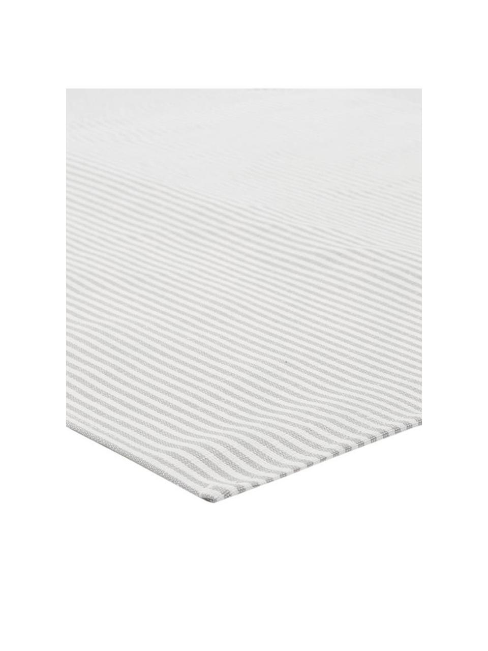 Serviettes de table composées pour moitié de lin Rayures, 6 pièces, Blanc, gris