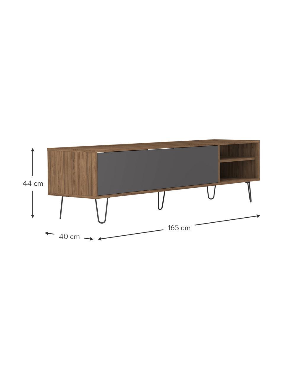 Modernes TV-Lowboard Aero mit Klapptür, Korpus: Spanplatte, melaminbeschi, Füße: Metall, lackiert, Walnussholz, Grau, 165 x 44 cm