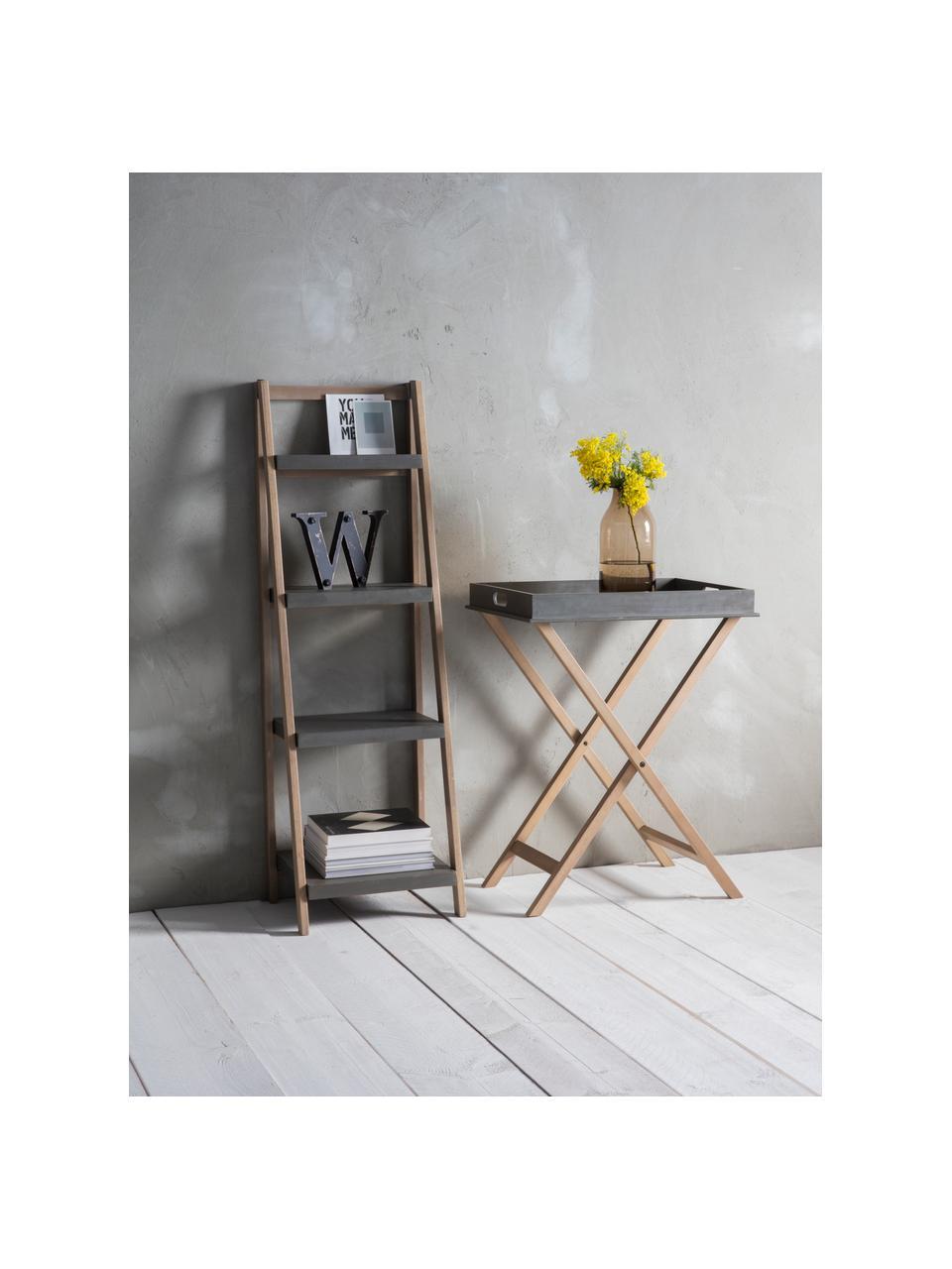 Libreria a scala Lomborg, Cornice: legno di quercia naturale, Ripiani: poliresina verniciato, Legno di quercia, grigio, Larg. 43 x Alt. 136 cm