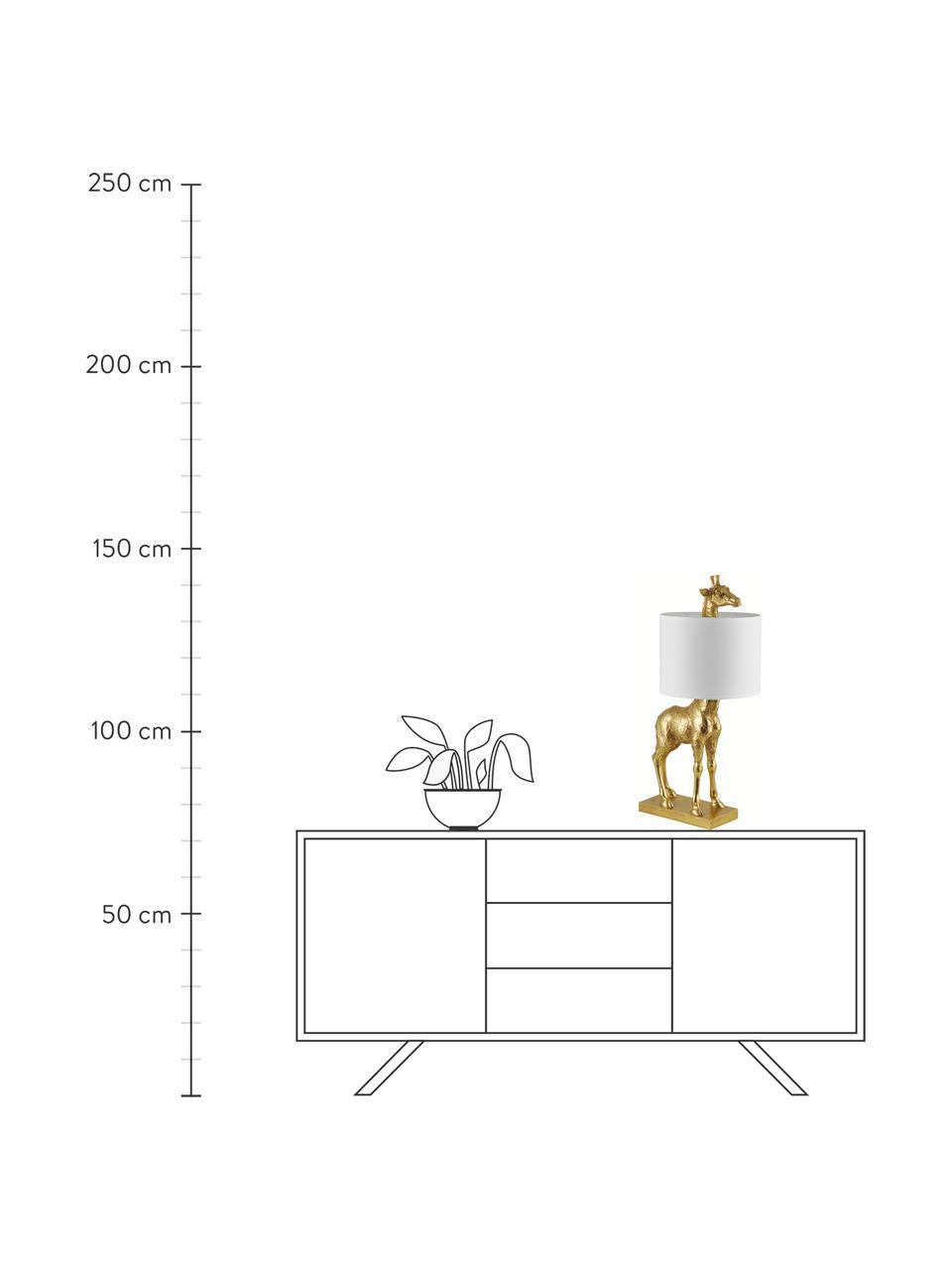 Duża lampa stołowa  z lnianym kloszem Epigaea, Odcienie złotego, biały, S 35 x W 70 cm