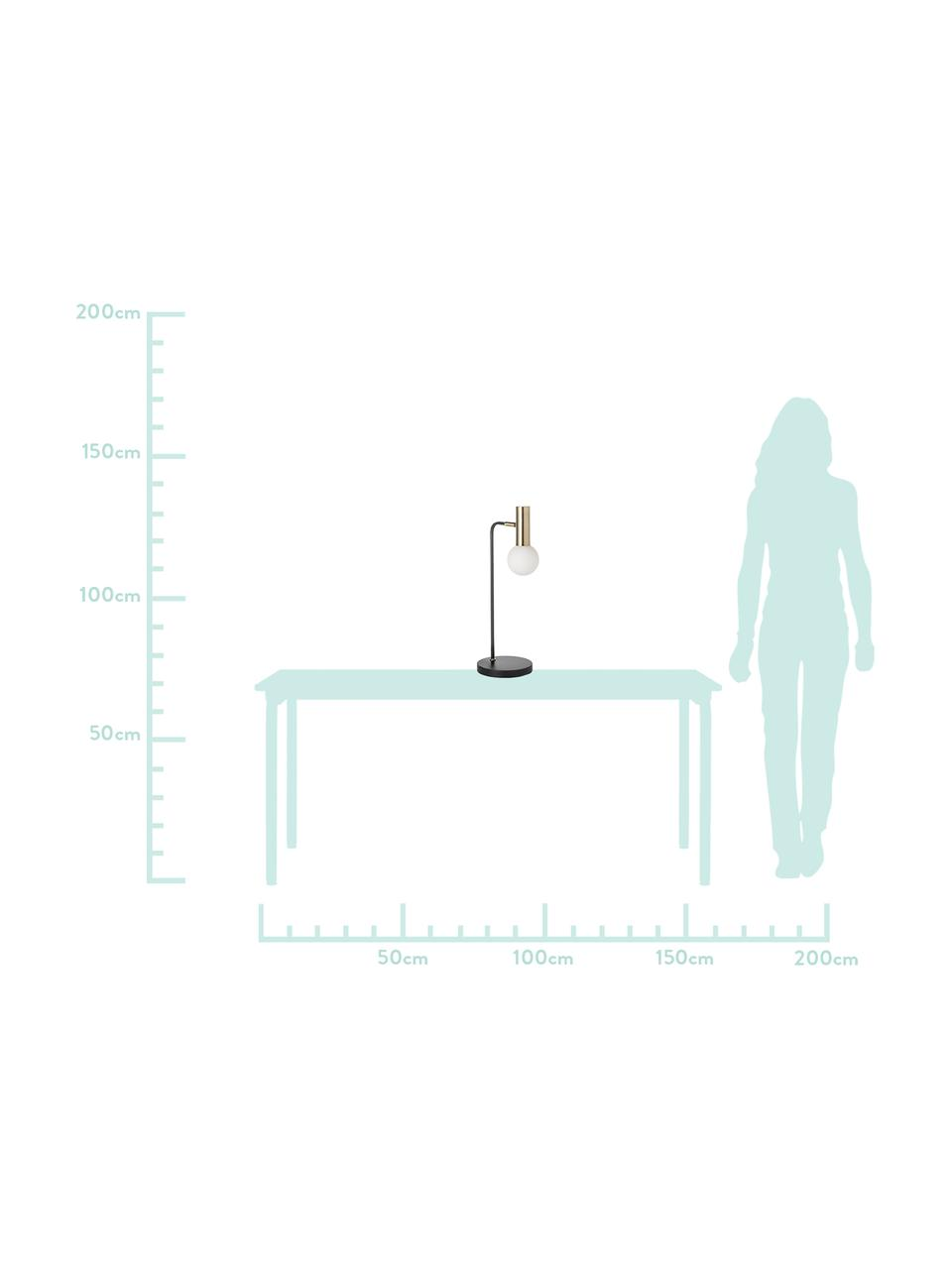 Grote tafellamp Wilson met glazen lampenkap, Lampenkap: glas, Lampvoet: metaal, Zwart, 22 x 54 cm