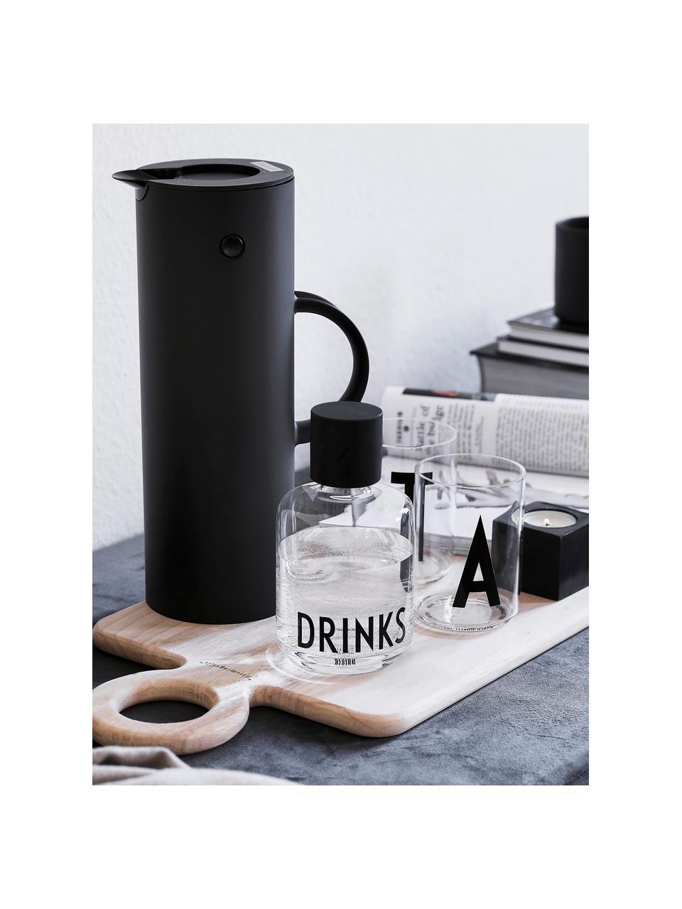 Bottiglia in vetro di design con scritta Drinks, 500 ml, Coperchio: silicone, Trasparente, nero, Alt. 18 cm