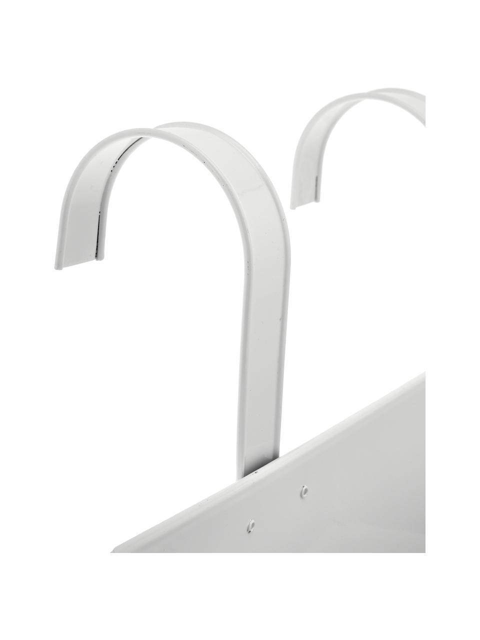 XL Balkon-Übertopf Larissa aus Metall, Metall, beschichtet, Weiß, 40 x 28 cm
