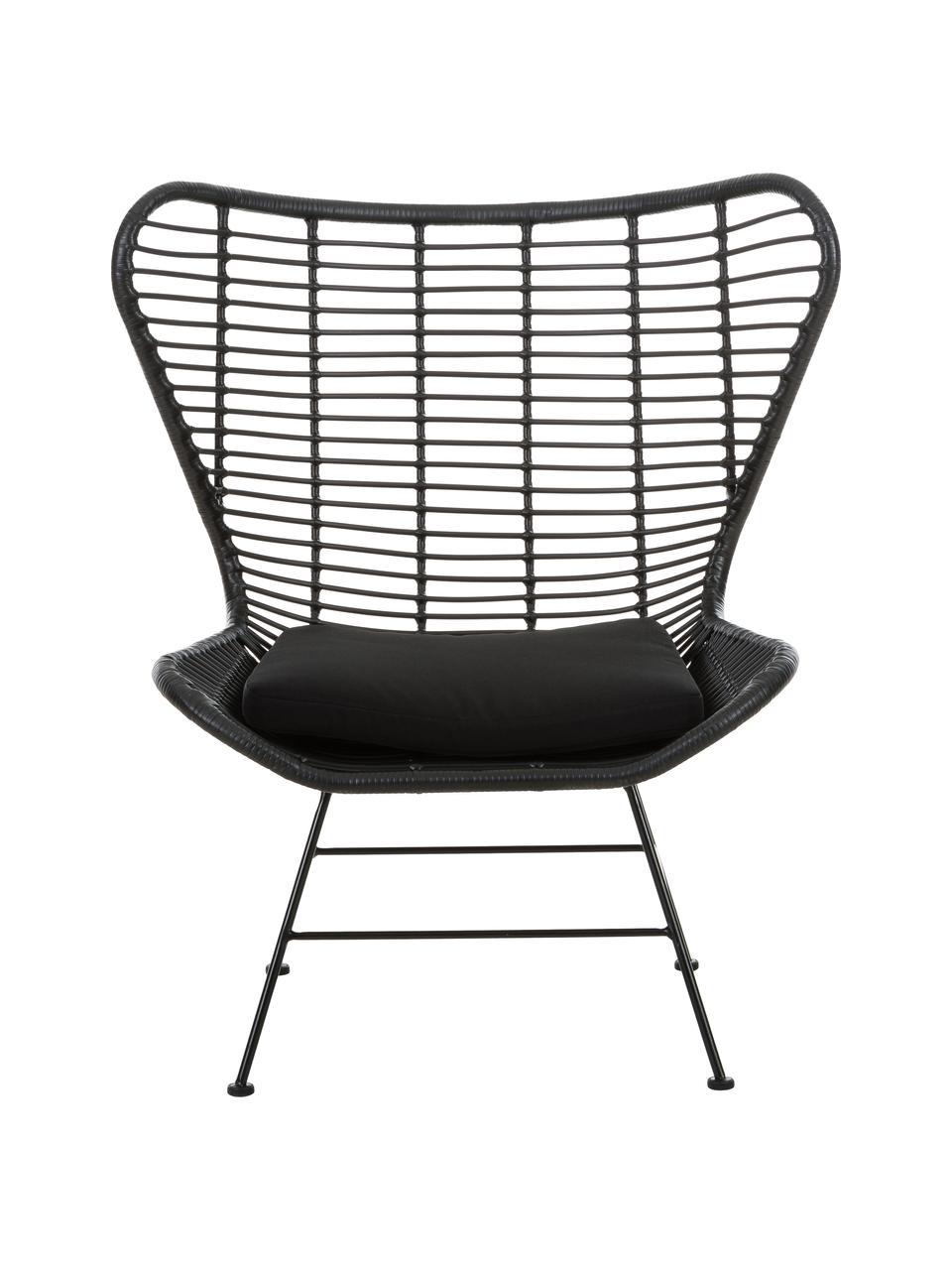 Polyrotan fauteuil Costa in zwart, Zitvlak: polyethyleen-vlechtwerk, Frame: gepoedercoat metaal, Zwart, B 90 x D 89 cm