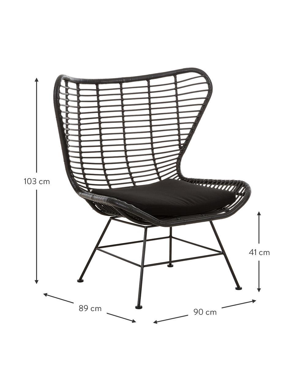 Ohrensessel Costa mit Polyrattan, Sitzfläche: Polyethylen-Geflecht, Gestell: Metall, pulverbeschichtet, Schwarz, Schwarz, B 90 x T 89 cm