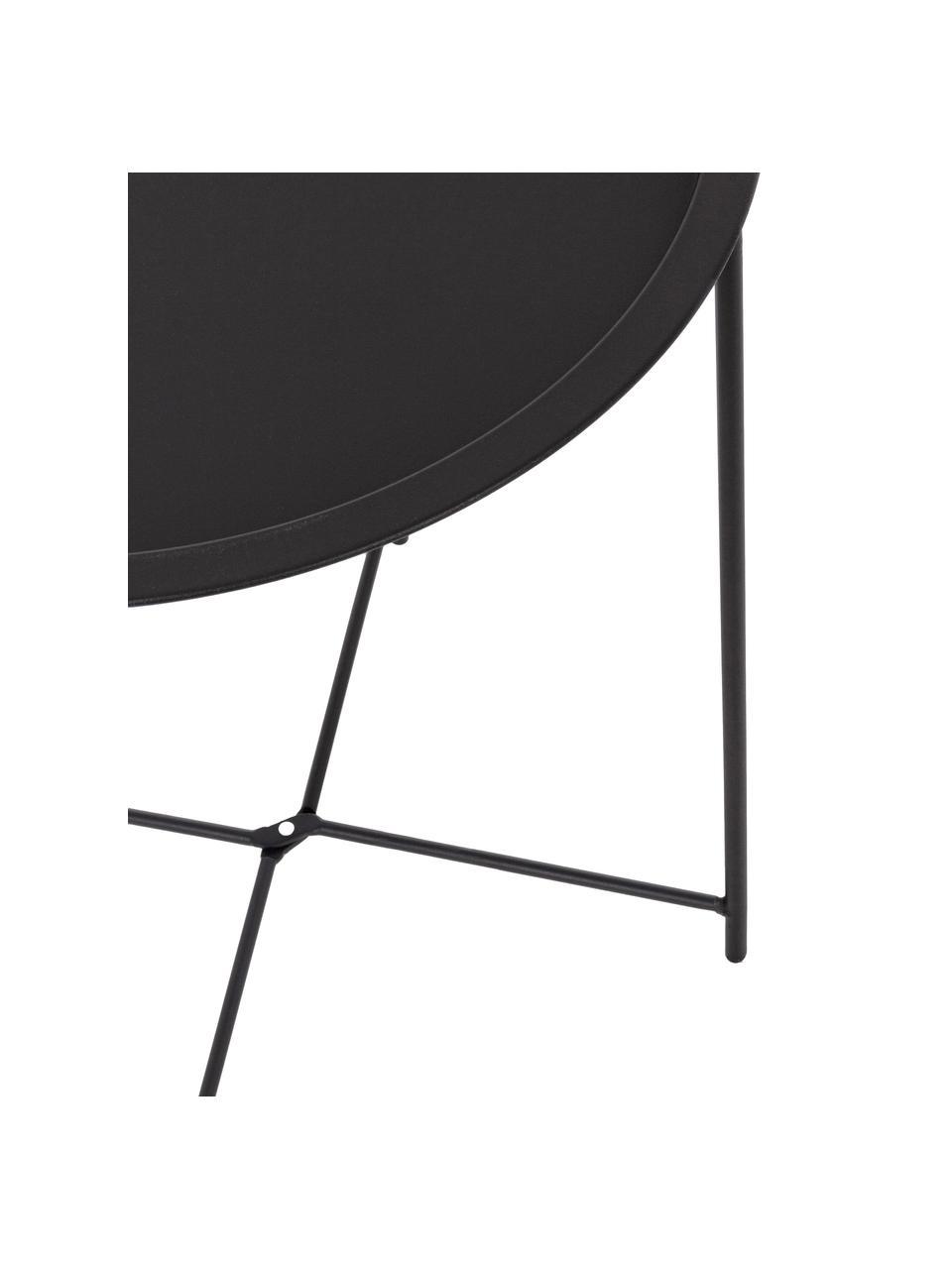 Metalen outdoor bijzettafel Wissant, Gepoedercoat staal, Zwart, Ø 46 x H 52 cm