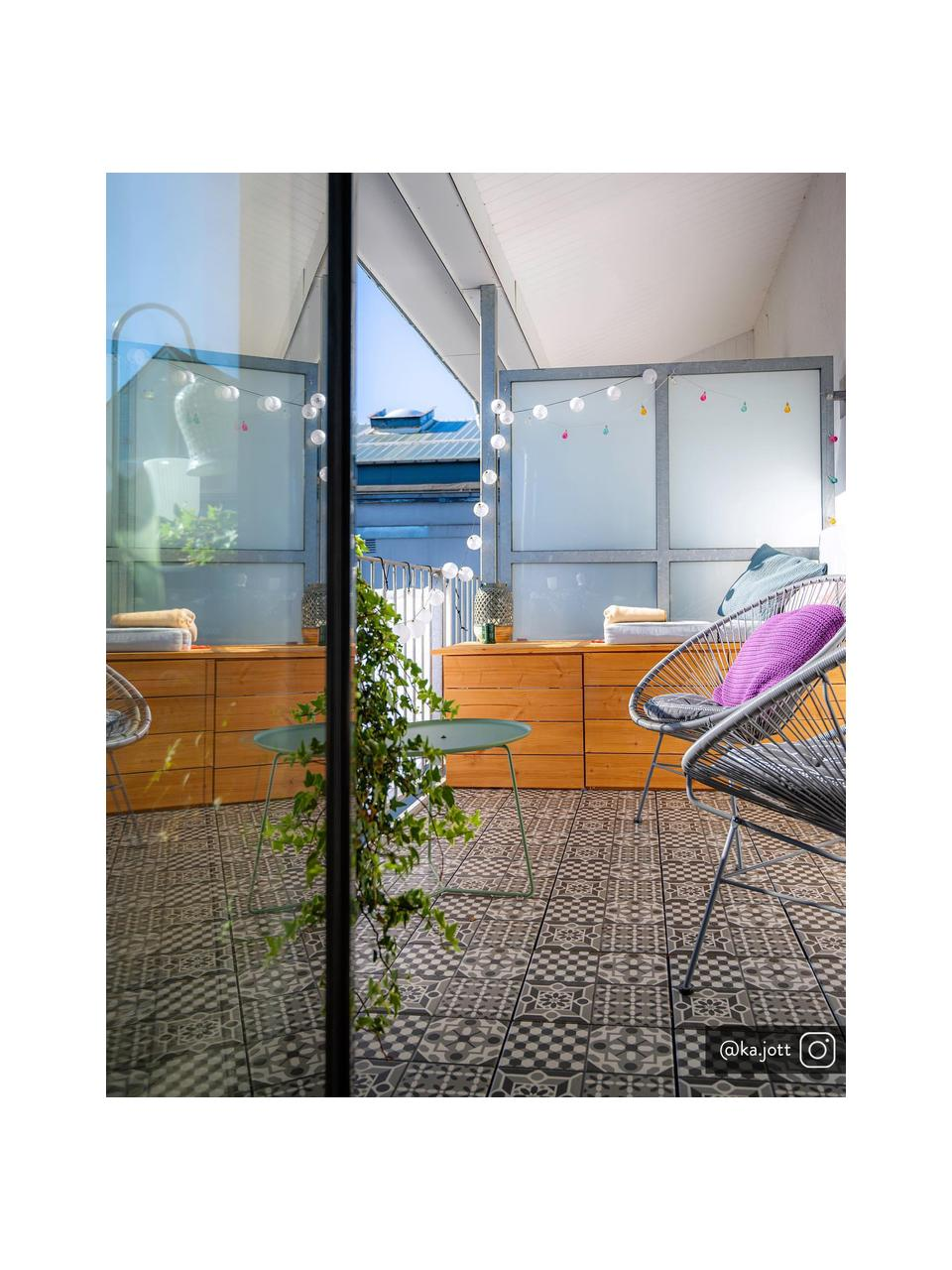 Sedia a poltrona intrecciata Bahia, Seduta: materiale sintetico, Struttura: metallo verniciato a polv, Grigio, Larg. 81 x Prof. 73 cm