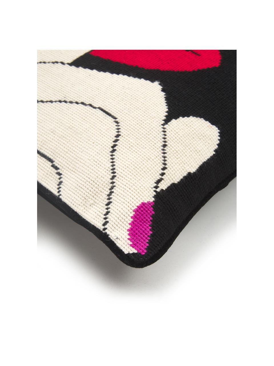 Handbesticktes Designer Kissen Soothe, mit Inlett, Vorderseite: 100% Wolle, Rückseite: Samt, Schwarz, Rot, Weiß, 45 x 45 cm