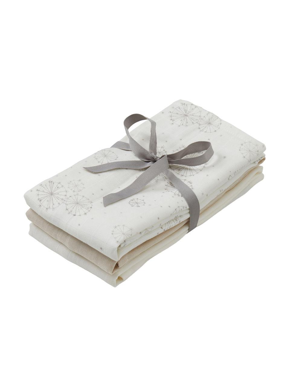 Komplet pieluszek tetrowych z bawełny organicznej Dandelion, 3 elem., 100% bawełna organiczna, Biały, beżowy, kremowy, S 70 x D 70 cm