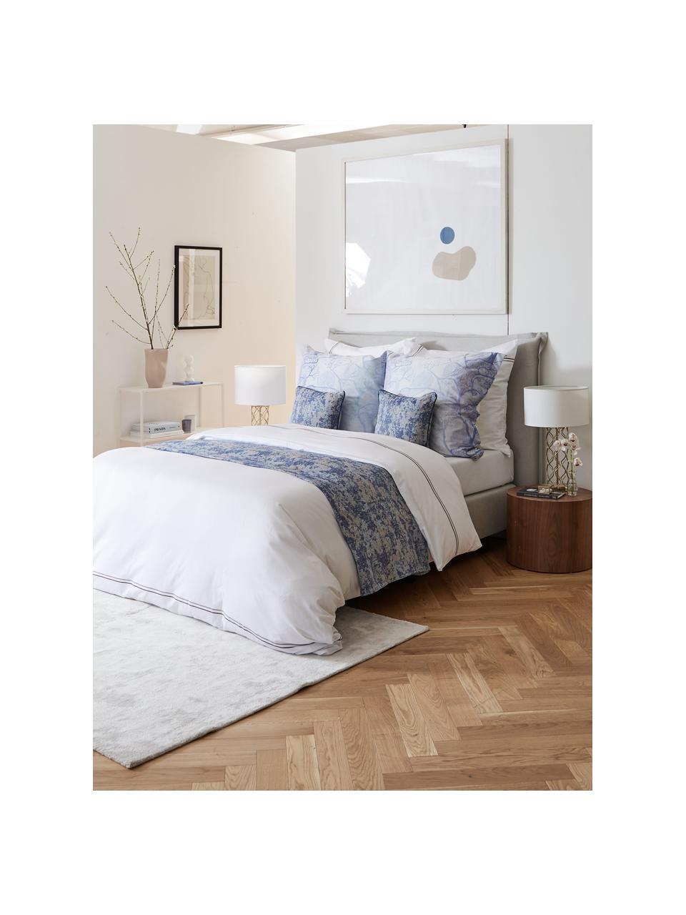 Premium boxspring bed Violet in lichtgrijs, Matras: 5-zones pocketvering, Poten: massief gelakt berkenhout, Geweven stof lichtgrijs, 180 x 200 cm