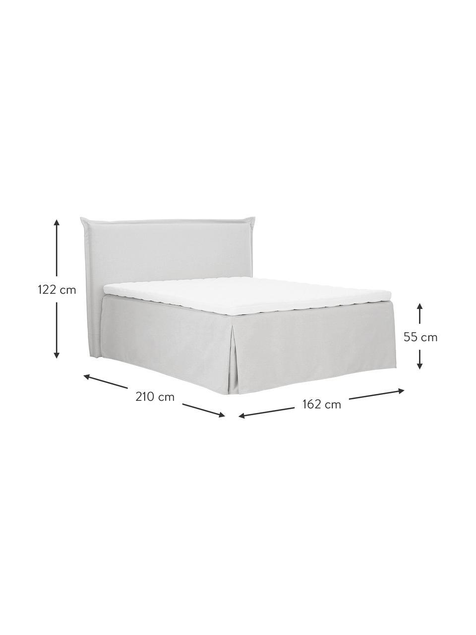 Letto boxspring premium in tessuto grigio chiaro con contenitore Violet, Materasso: nucleo a 5 zone di molle , Piedini: legno massiccio di betull, Bianco-grigio chiaro, 180 x 200 cm