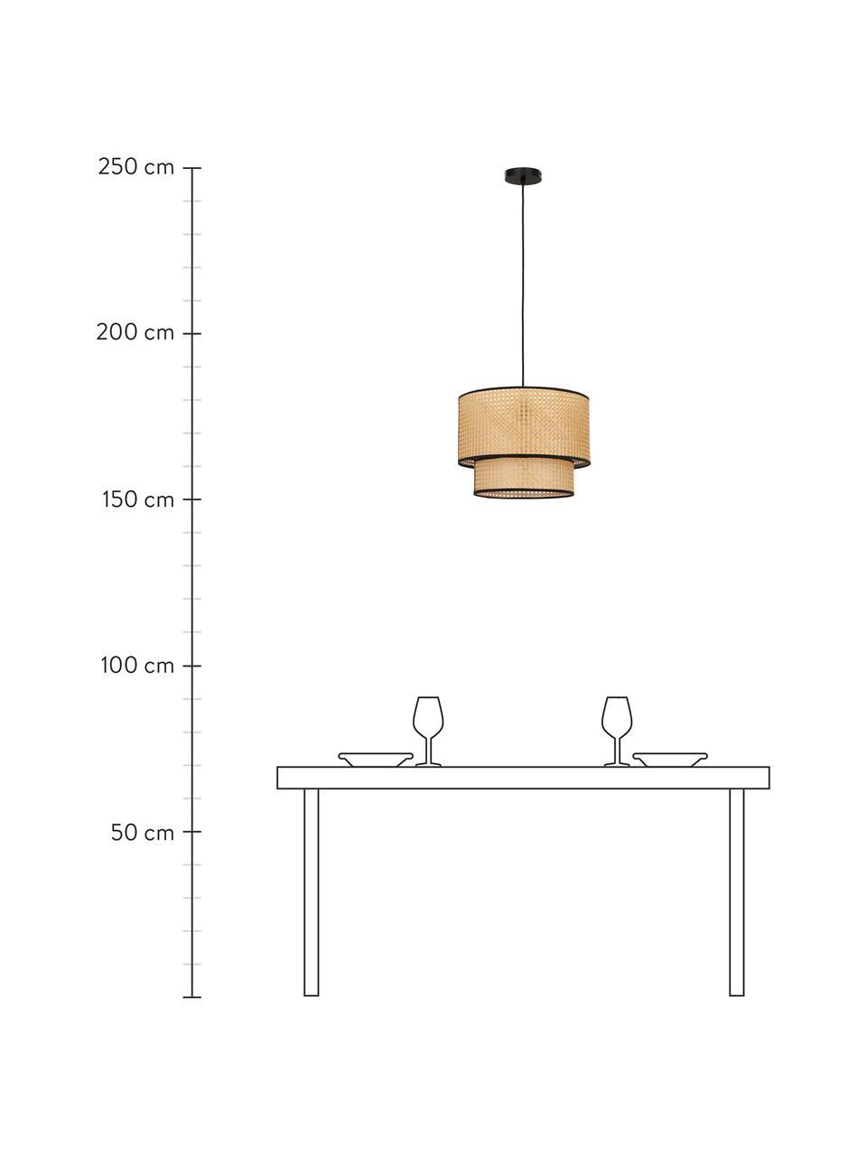 Lampa wisząca z plecionki wiedeńskiej Vienna, Klosz: beżowy, czarny Osłona mocowania sufitowego: czarny, matowy Kabel: czarny, Ø 40 x W 30 cm
