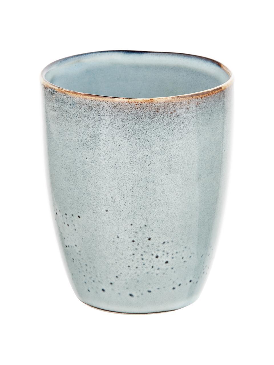 Ręcznie wykonany kubek z kamionki Thalia, 2 szt., Kamionka, Niebieskoszary, Ø 9 x W 11 cm