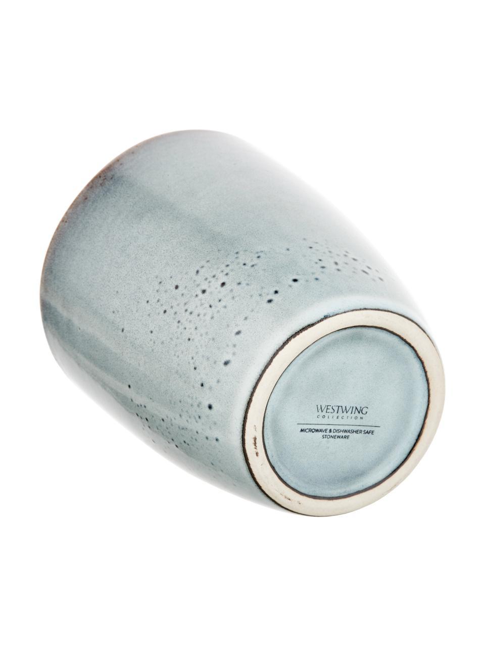 Tazas artesanales de gres Thalia, 2uds., Gres, Claro gris azulado, Ø 9 x Al 11 cm