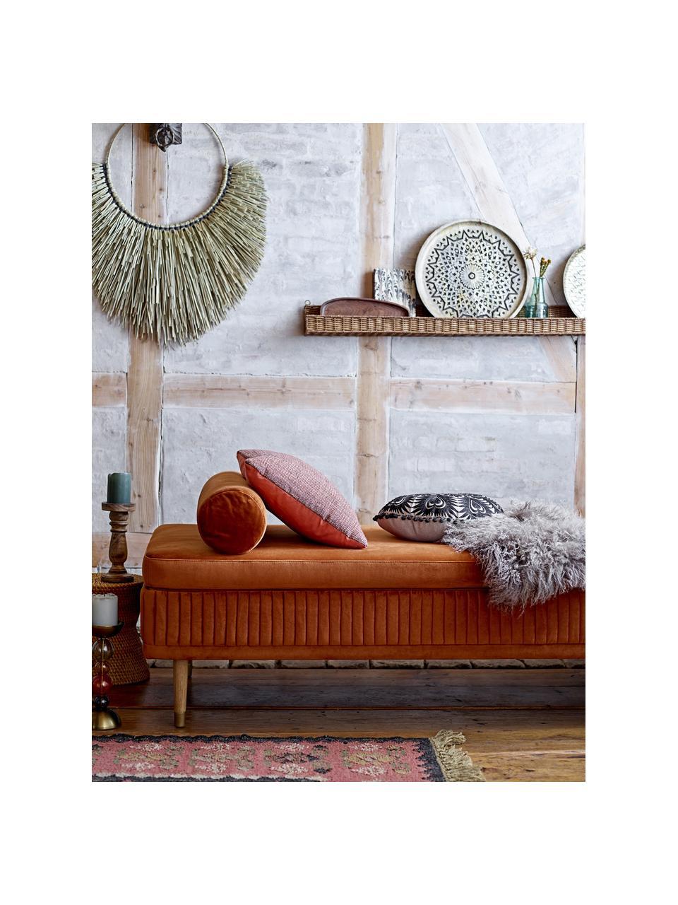 Fluwelen daybed Hailey in roestbruin met eikenhouten poten, Bekleding: polyester fluweel, Poten: eikenhout, metaal, Fluweel roestbruin, B 190 x D 80 cm