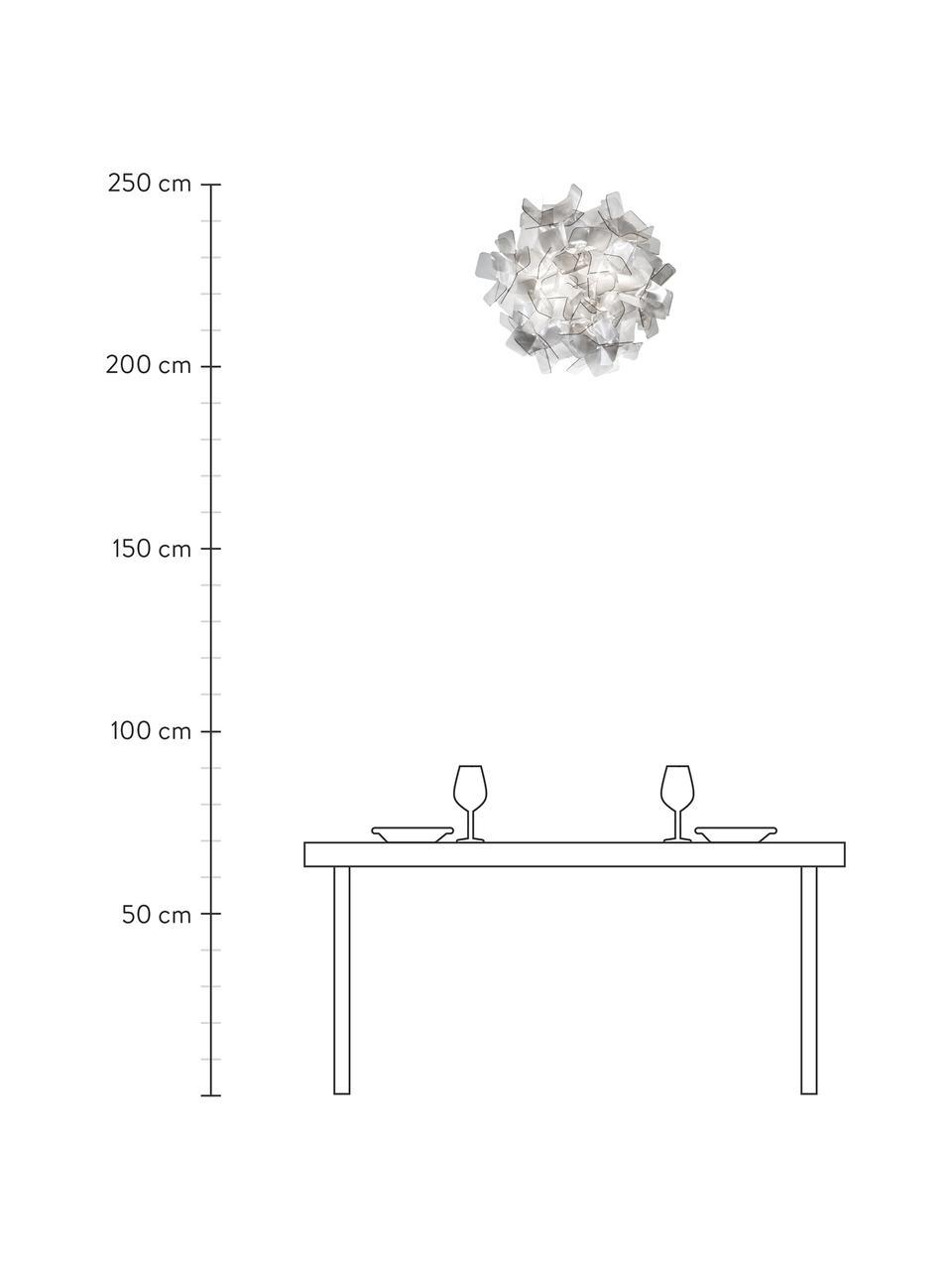 Lampada da parete e soffitto Clizia, Tecnopolimeri Lentiflex®, deflessione della luce e Cristalflex®, infrangibile, flessibile, Grigio chiaro trasparente, Ø 53 x Alt. 20 cm