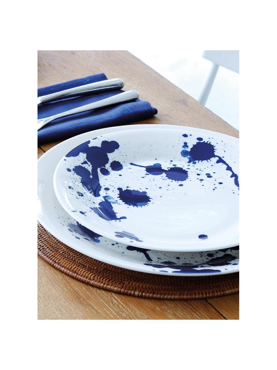 Assiette à dessert porcelaine design Pacific, 6pièces, Blanc, bleu
