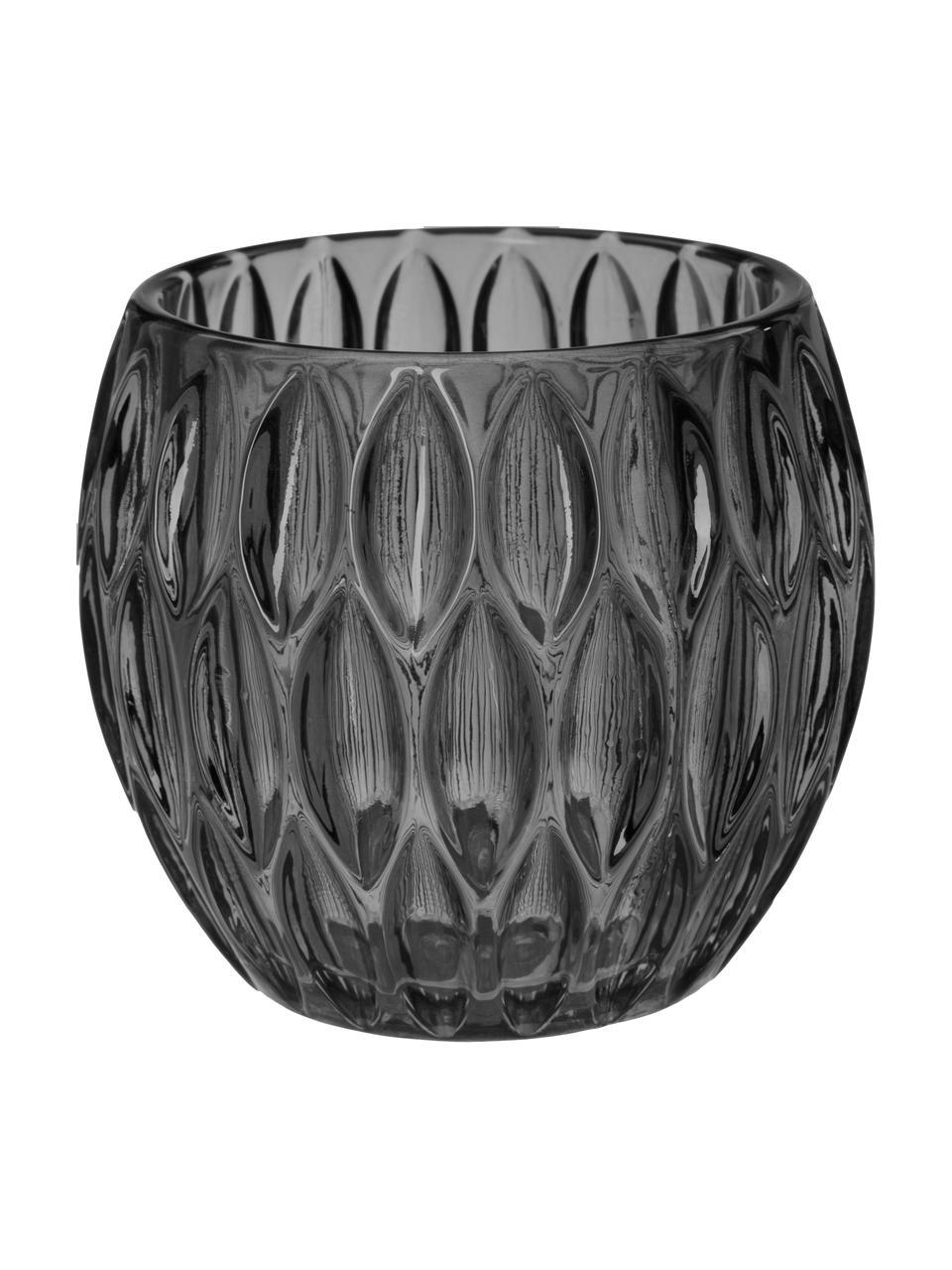 Waxinelichthoudersset Aliza, 3-delig, Glas, Grijs, transparant, Ø 10 x H 9 cm