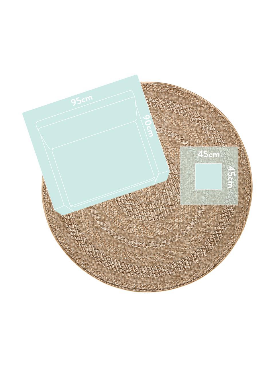 Rond in- &  outdoor vloerkleed Almendro in juten look, 100% polypropyleen, Beige, bruin, Ø 160 cm (maat L)