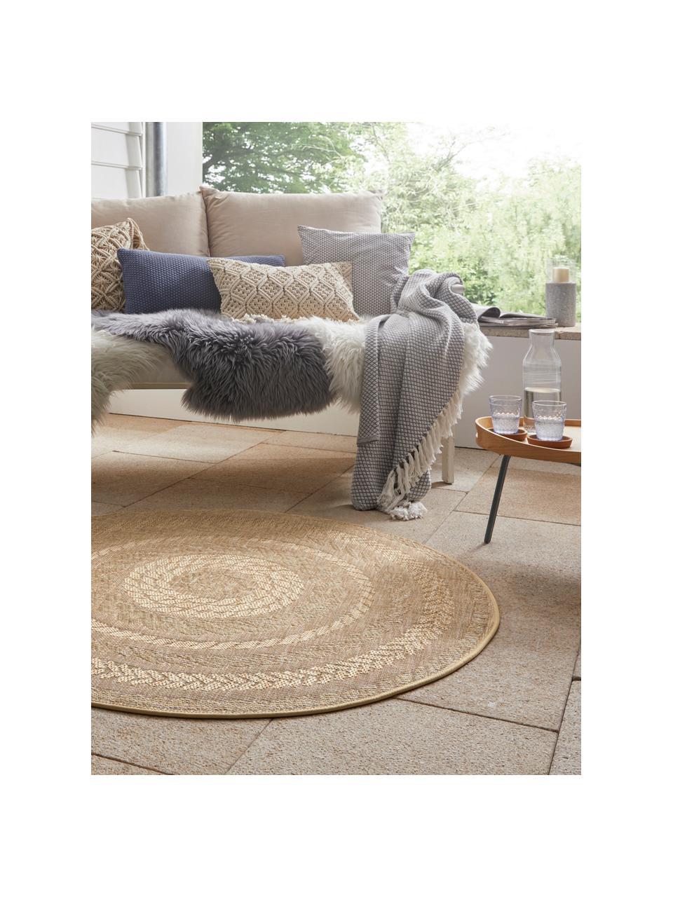 Runder In- & Outdoor-Teppich Almendro in Jute Optik, 100% Polypropylen, Beige, Braun, Ø 160 cm (Größe L)