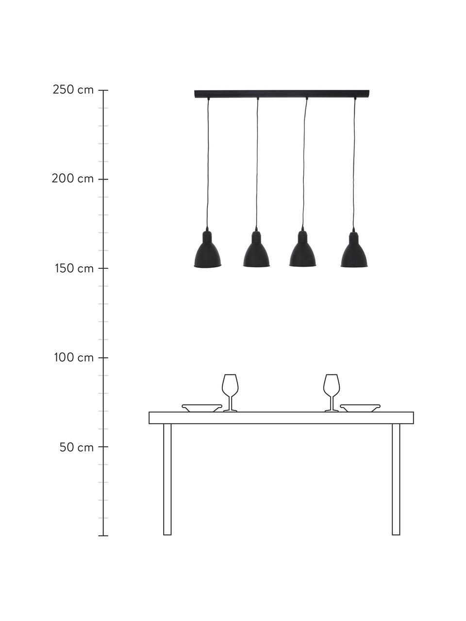 Lampa wisząca z metalu Priddy, Czarny, S 98 x W 20 cm