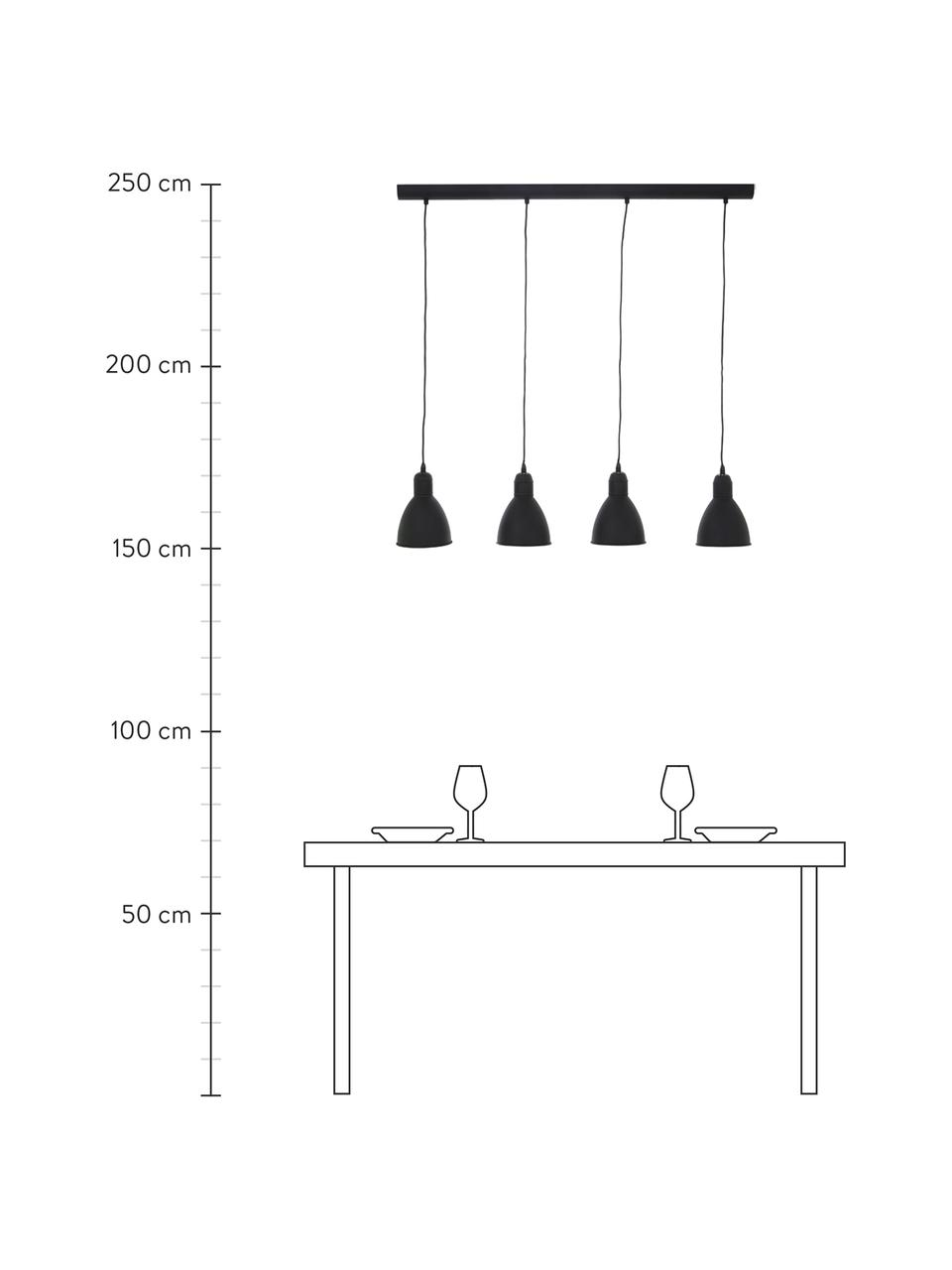 Lámpara de techo Priddy, Acero pintado, Negro, An 98 x Al 20 cm