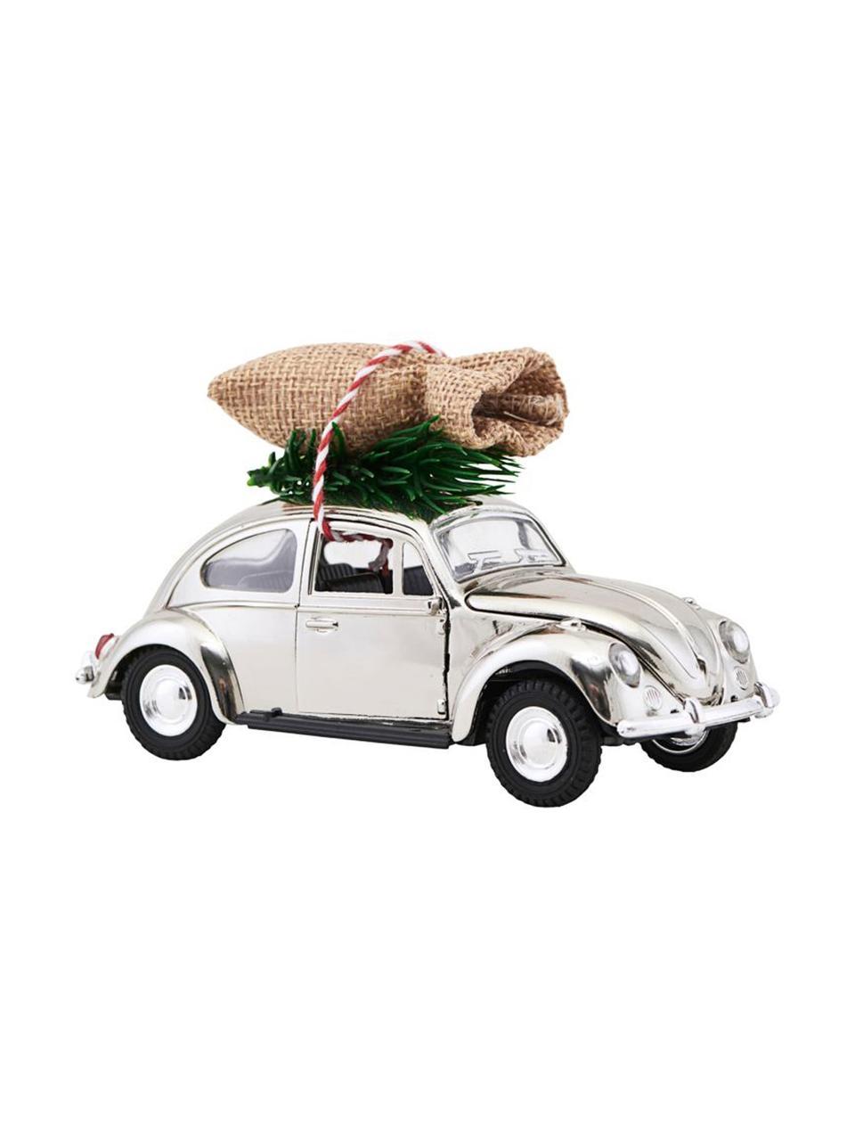 Deko-Auto XMAS Delivery, Zink, Plastik, Chrom, Grün, Beige, 5 x 7 cm