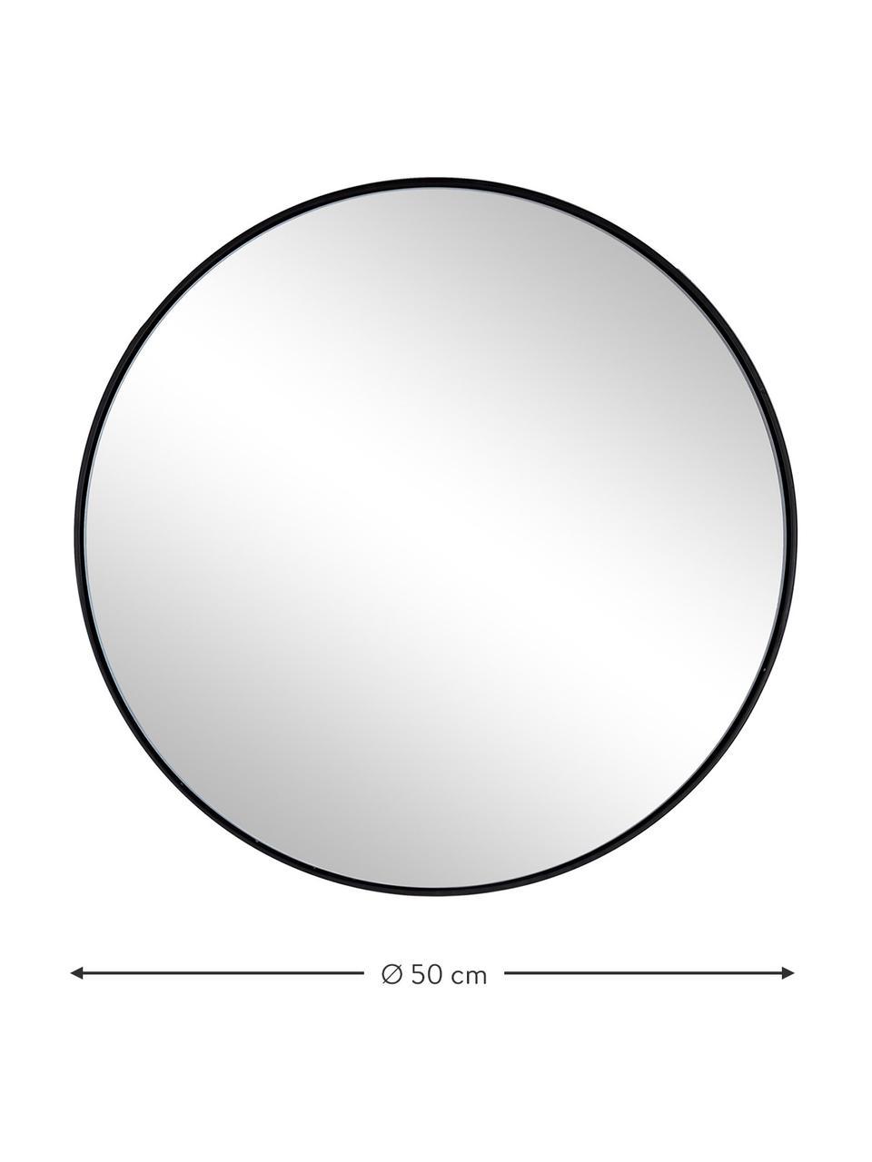 Specchio rotondo da parete con cornice in metallo nero Nucleos, Cornice: metallo rivestito, Superficie dello specchio: lastra di vetro, Nero, Ø 70 cm x Prof. 2 cm