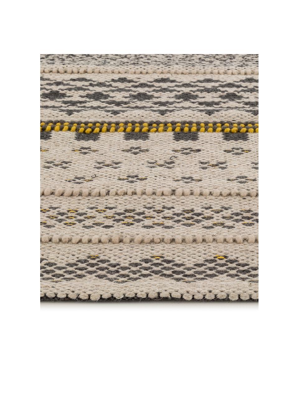 Wollen vloerkleed Nova in ethno stijl, 75% wol, 25% katoen Bij wollen vloerkleden kunnen vezels loskomen in de eerste weken van gebruik, dit neemt af door dagelijks gebruik en pluizen wordt verminderd., Grijs, mosterdgeel, beige, B 140 x L 200 cm (maat S)