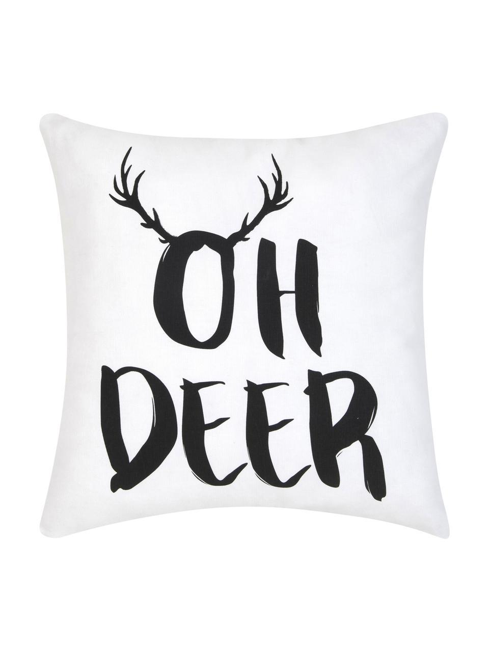 Kissenhülle Oh Deer mit Aufschrift, Baumwolle, Schwarz, Weiss, 40 x 40 cm