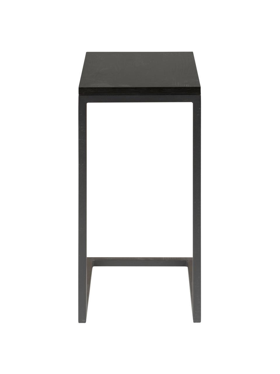 Stolik pomocniczy czarny Pia, Blat: drewno dębowe, lakierowan, Stelaż: metal malowany proszkowo, Czarny, S 40 x G 30 cm