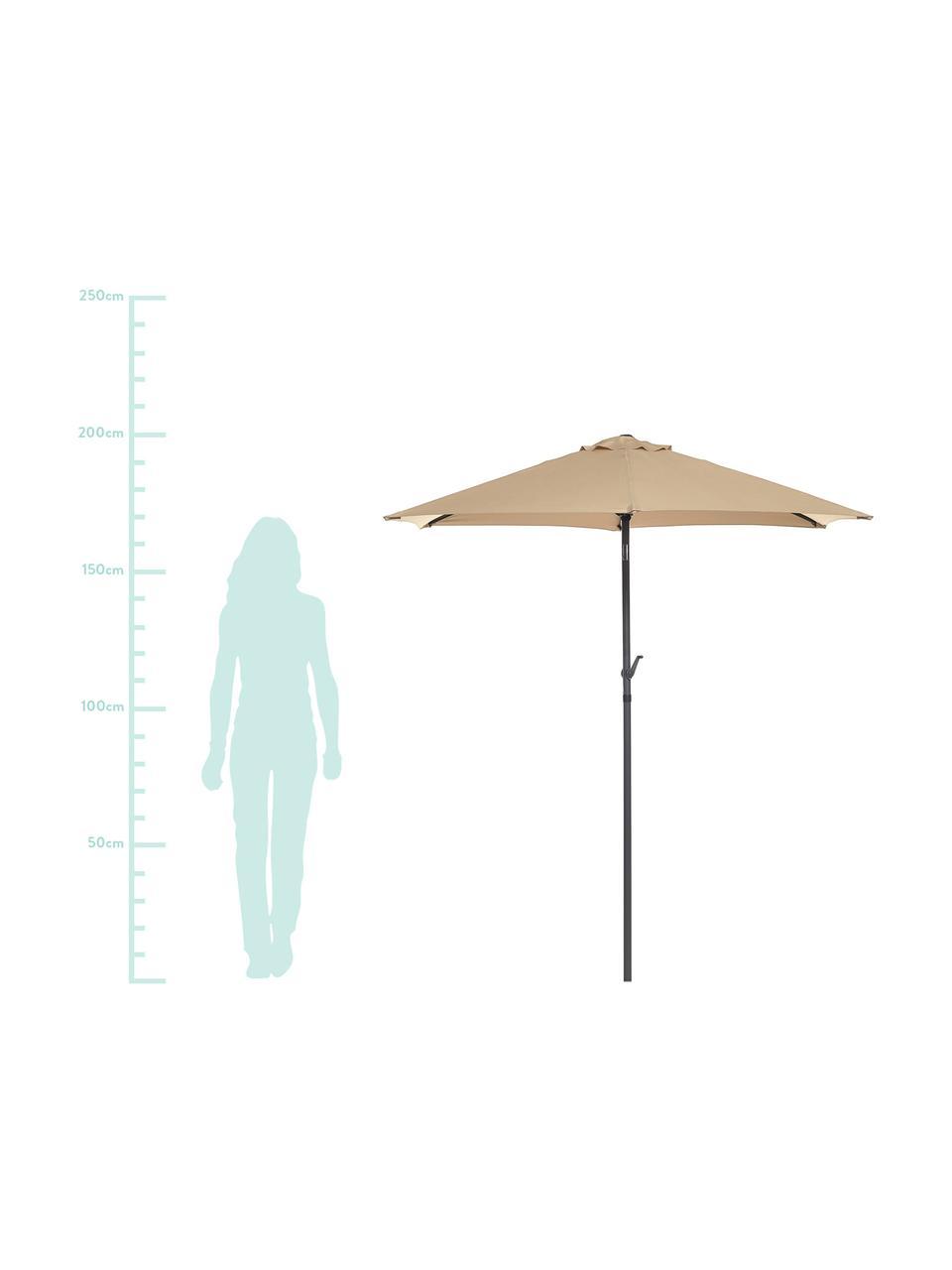 Sonnenschirm Siesta in Beige mit Kurbel, Gestell: Aluminium, beschichtet, Bezug: Polyester, Beige, Schwarz, Ø 250 x H 240 cm