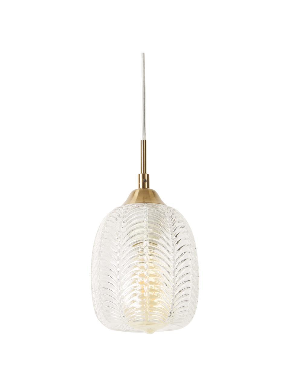 Mała lampa wisząca z satynowanego szkła Vario, Odcienie mosiądzu, transparentny, Ø 14 x 24 cm
