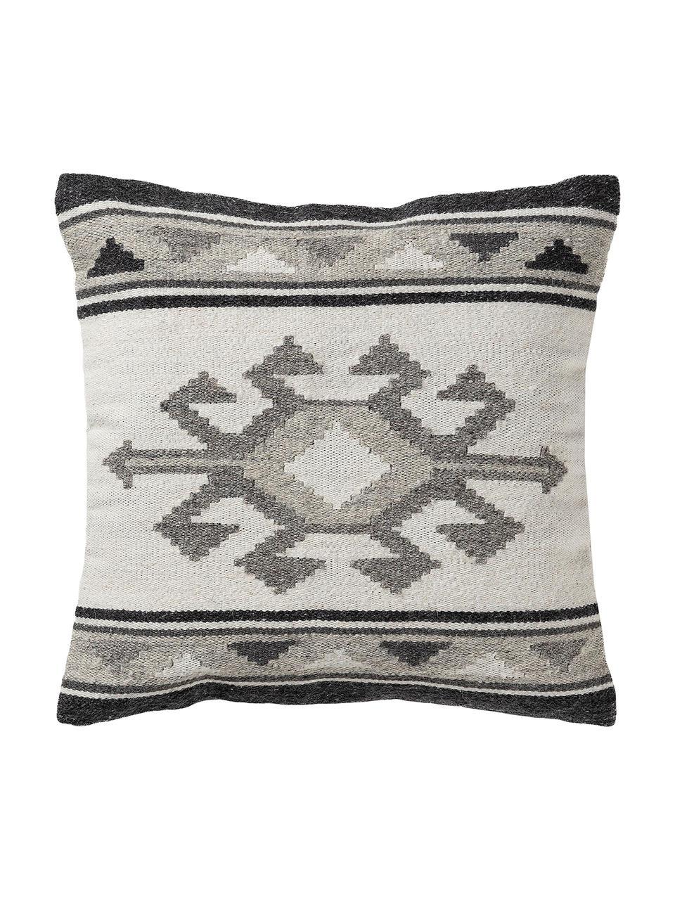 Kissenhülle Dilan mit Ethnomuster in Dunkelgrau/Grau aus Wolle, 80% Wolle, 20% Baumwolle, Grautöne, 45 x 45 cm