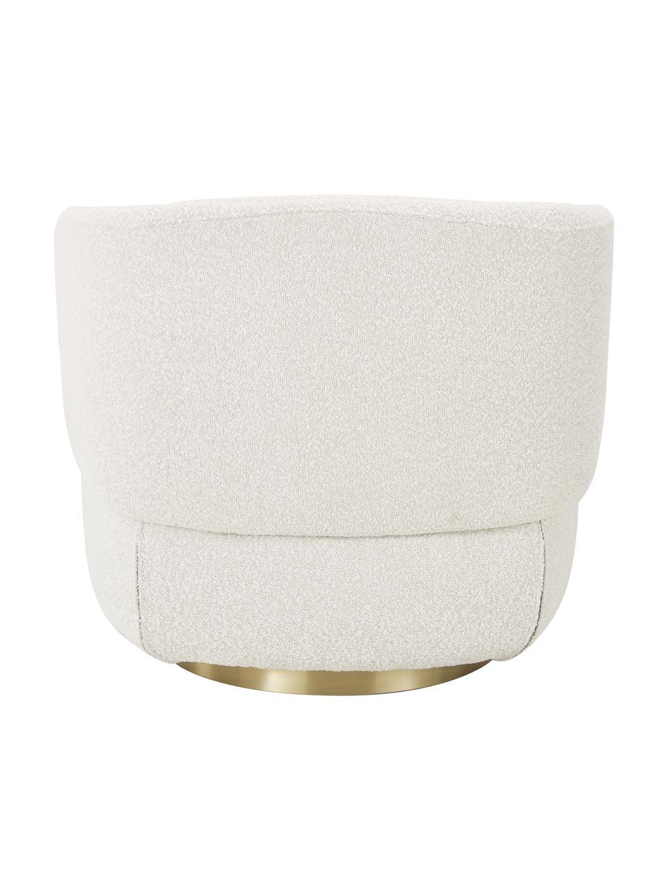 Poltrona girevole in bouclé bianco crema Irene, Struttura: metallo, Piedini: metallo verniciato a polv, Bouclé bianco crema, Larg. 74 x Alt. 70 cm