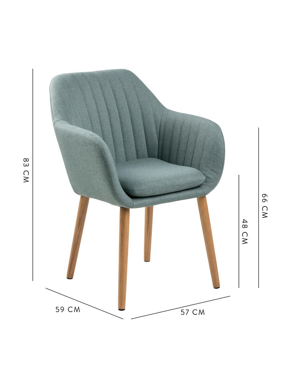 Krzesło z podłokietnikami z drewnianymi nogami Emilia, Tapicerka: aksamit poliestrowy Dzięk, Nogi: drewno dębowe, olejowane, Oliwkowy zielony, drewno dębowe, S 57 x G 59 cm