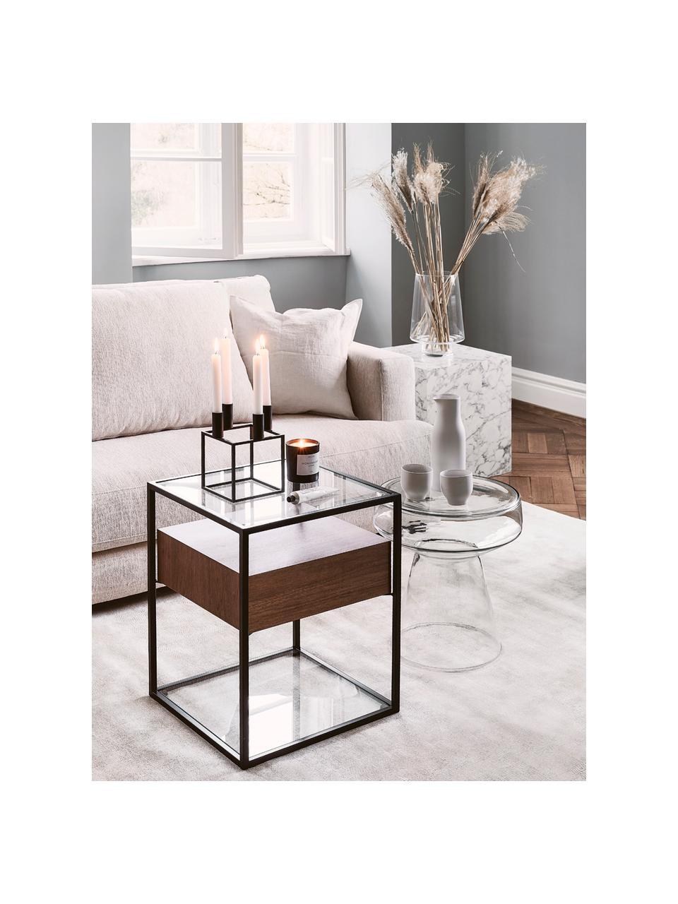 Stolik pomocniczy z szufladą Helix, Stelaż: metal malowany proszkowo, Transparentny, czarny, drewno akacjowe, S 45 x W 54 cm