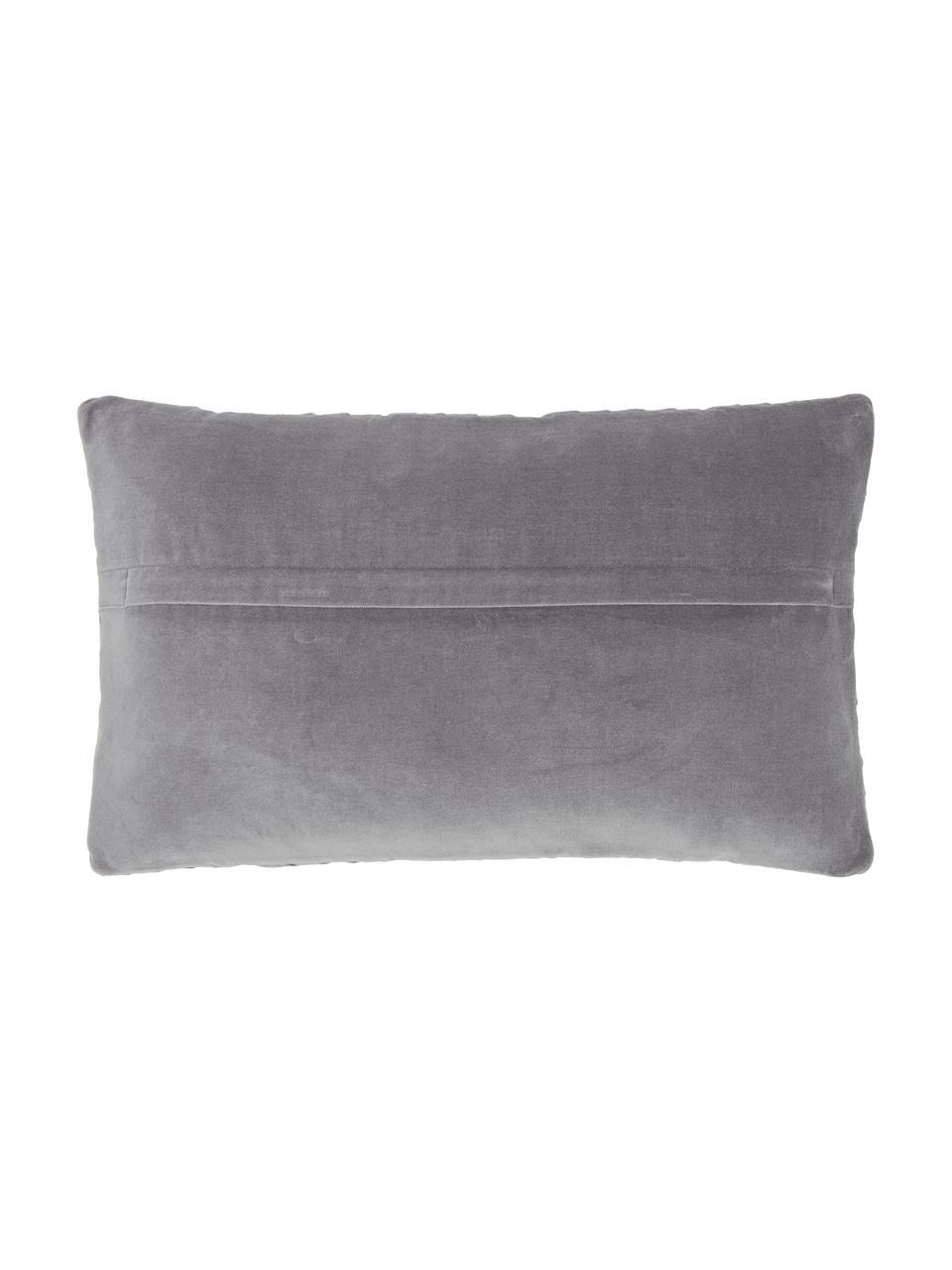 Federa arredo in velluto grigio scuro con motivo a rilievo Sina, Velluto (100% cotone), Grigio, Larg. 30 x Lung. 50 cm