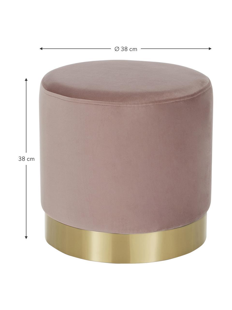 Puf z aksamitu Orchid, Tapicerka: aksamit (100% poliester) , Tapicerka: blady różowy, podstawa: odcienie złotego, ∅ 38 x W 38 cm