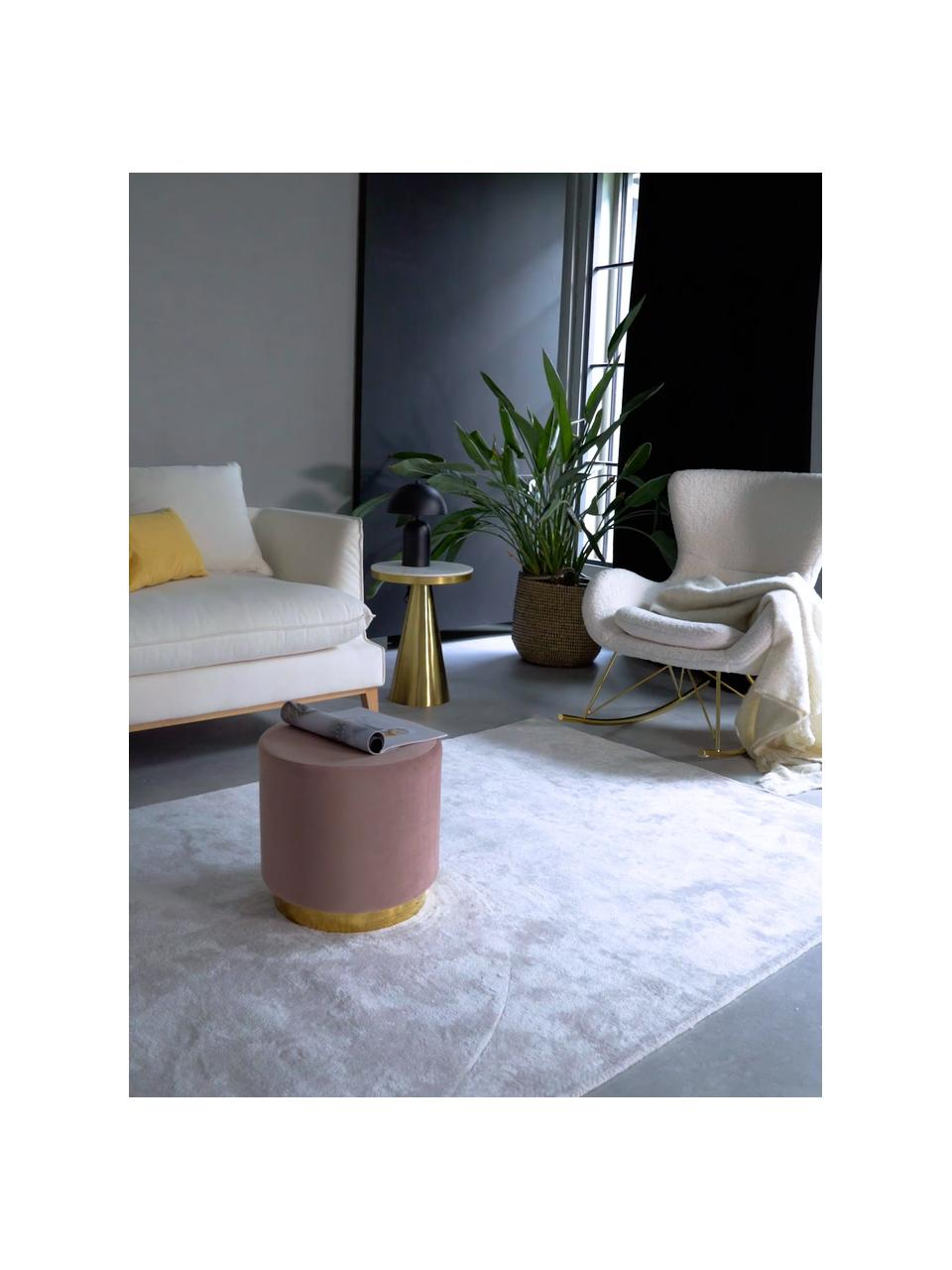 Pouf in velluto rosa Orchid, Rivestimento: velluto (100% poliestere), Struttura: compensato, Rivestimento: rosa Base: dorato, Ø 38 x Alt. 38 cm
