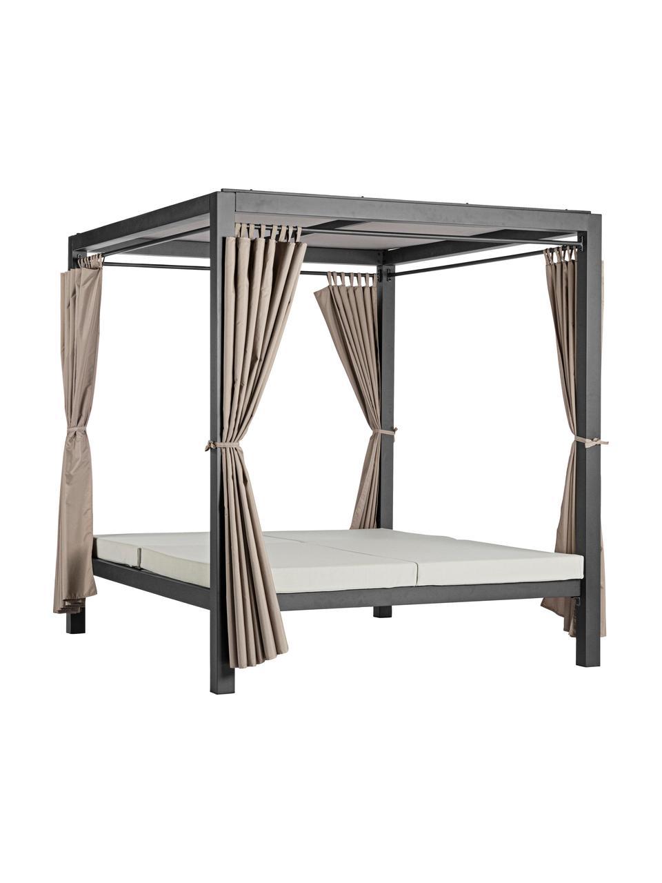 Letto prendisole con baldacchino e tende Dream, Struttura: alluminio verniciato a po, Nero, Larg. 208 x Alt. 205 cm