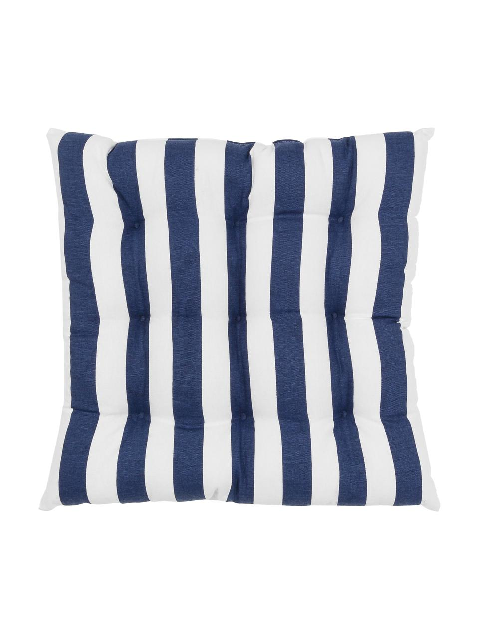 Gestreept stoelkussen Timon in donkerblauw/wit, Donkerblauw, wit, 40 x 40 cm